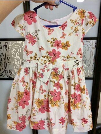 Нарядное платье с коротким рукавом на годик, 12-18 месяцев