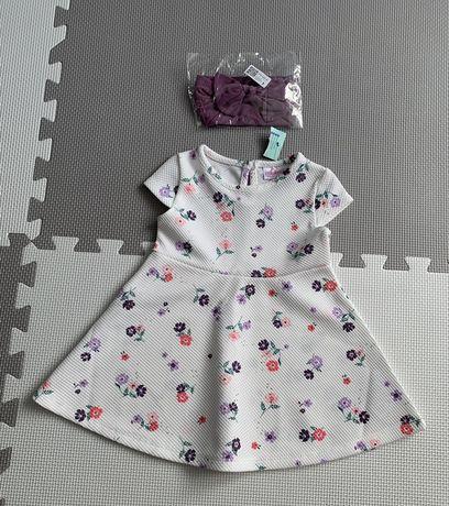 Sliczna nowa sukienka i nowa opaska rozm 74