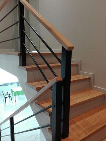 schody, schody z drewna, drewno, metal, szkło