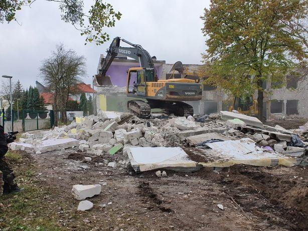 Rozbiórki, wyburzenia, budynków, usługi koparka, ładowarka, fundamenty