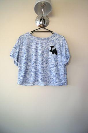 szara niebieska melanzowa bluzka croptop melanzowy szary 42 XL t-shirt