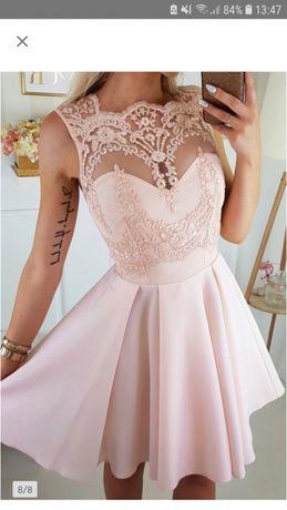Sukienka koktajlowa rozkloszowana S haft brzoskwiniowa