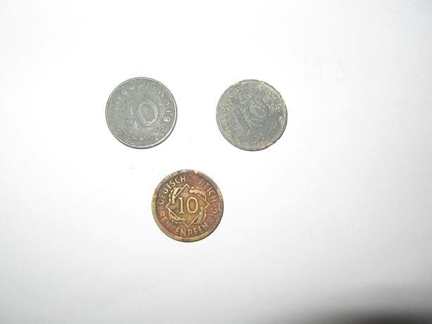Три монеты Германии, 10 пфеннигов, 1941, 1924 года.