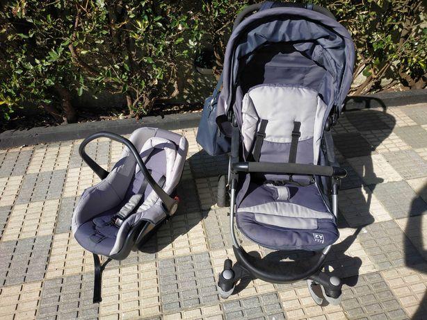 Conjunto carro-bebé, babycoque e mala