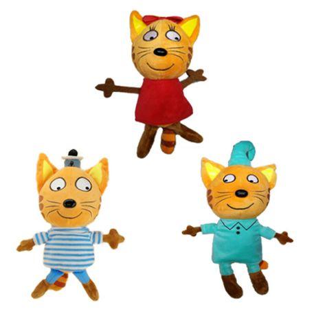 Три кота игрушки мягкие плюшевые 18см 3 Коржик, Компот и Карамелька