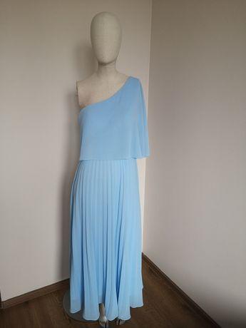 Błękitna sukienka maxi plisowana na wesele S/M
