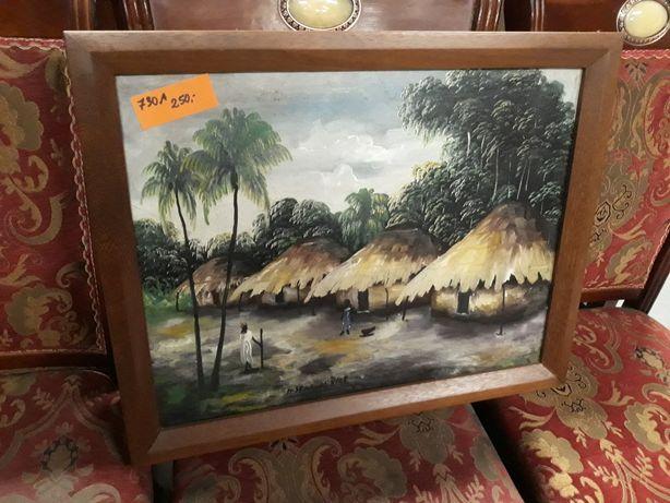 Obraz olejny na płótnie afrykańska wioska
