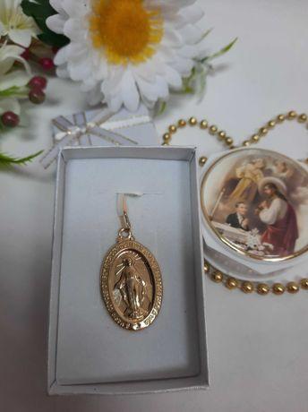 Piękny duży złoty cudowny medalik złoto 585
