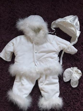 Zimowe ubranko do chrztu 3-4msc