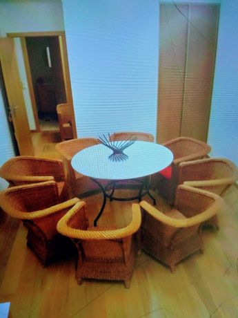 8 Poltronas e canapé, em vimes da camacha, Mobília de Luxo, Pollux