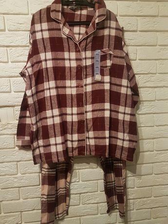 Nowa, flanelowa piżama w kratkę. Rozmiar 46/48/ 50/52.
