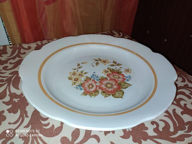 Очень большая тарелка, блюдо, ладья, фарфор СССР цветы
