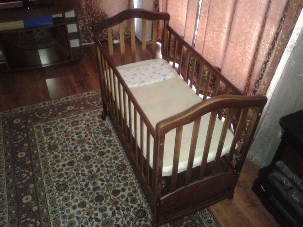 Дитяче ліжко-колиска + матрац, детская кроватка-качалка
