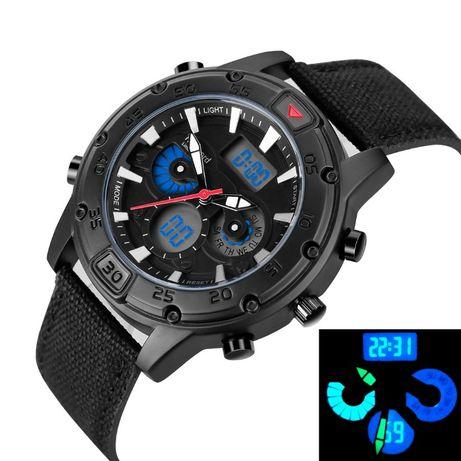 65Militarny zegarek CIĘŻKI męski pasek parciany podświetlenie
