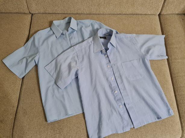 Голубые рубашки 1-2 класс с коротким рукавом