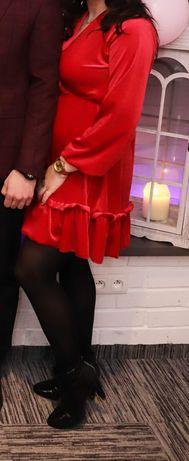 Czerwona sukienka40 miki welurowa 36
