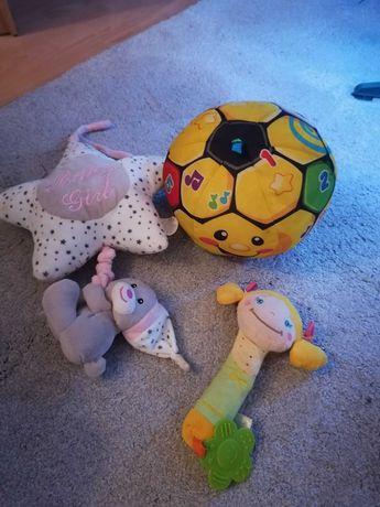 Zabawki niemowlęce, piłka fisher price, pozytywka, piszczałka