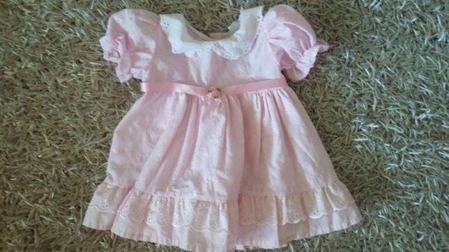 Sukienka różowa sukieneczka 86  chrzest swieta chrzciny