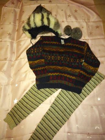 Теплые штаны, свитер +шапка из зайчика
