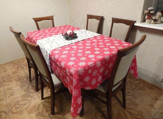 Тефлонові новорічні скатертини, текстиль, подушки, новогодняя скатерть