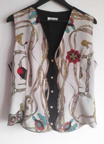 Colete Vintage anos 90, marca Mariella, padrão clássico. Tamanho M