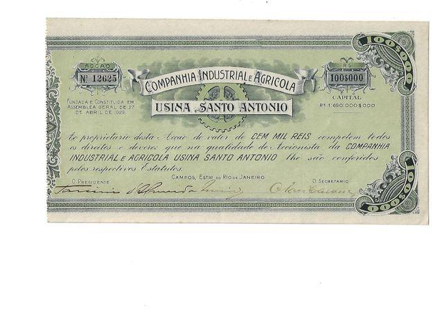 Bonds Shares Ações Acção Usina Santo Antonio 100 mil reis - 1922 -