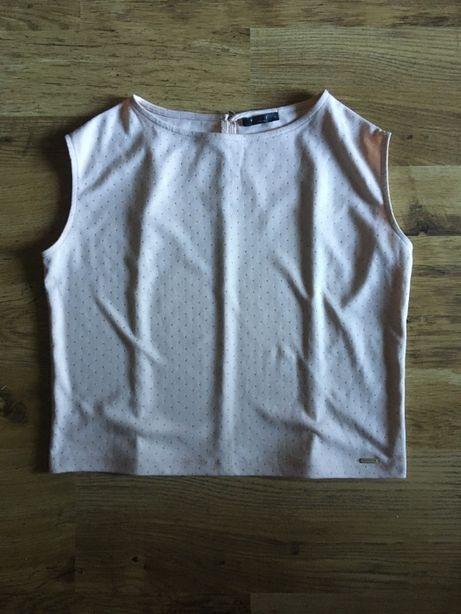 Letnia, elegancka beżowa koszulka MOHITO