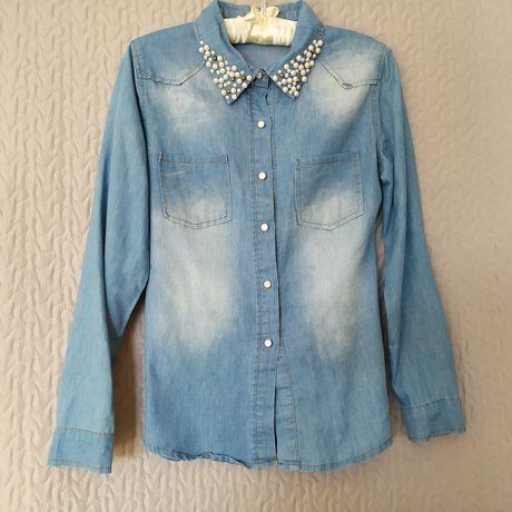 Jeansowa koszula ozdobny kołnierzyk perełki