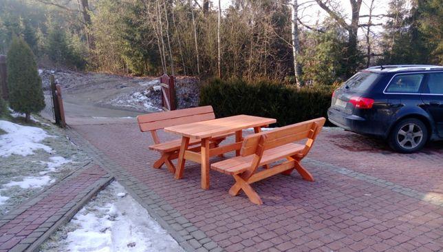 Meble ogrodowe, ławy ogrodowe, drewniane stoły, komplet biesiadny, sto
