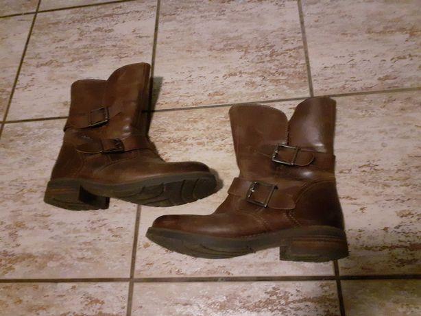 Zimowe wojskowe 40 buty skórzane brązowe Ocieplane ze skóry naturalnej
