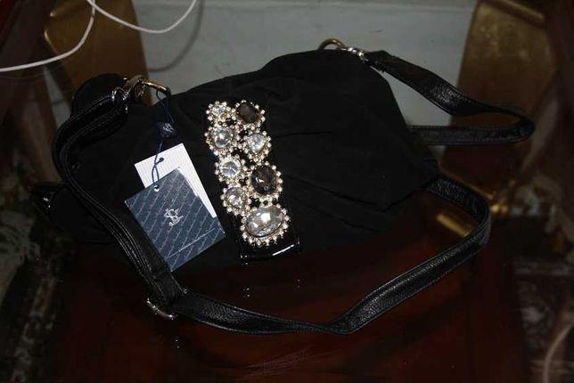 Замшевая кожаная сумка с камнями
