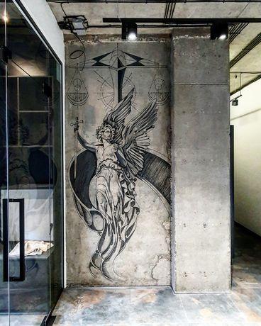 Художественная роспись стен, рельефное панно