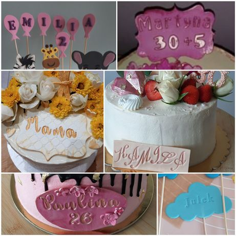 Figurki cyfry z masy cukrowej na tort , babeczki