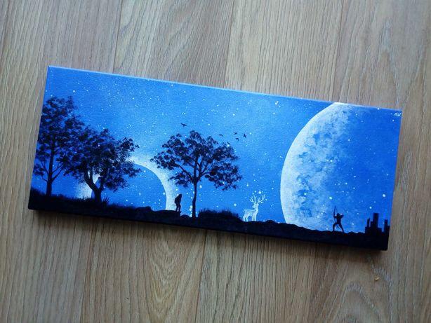Obraz ręcznie malowany - Blue world