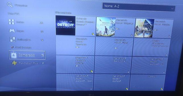 PS4 slim 1tb, com jogos em CD e conta PSN