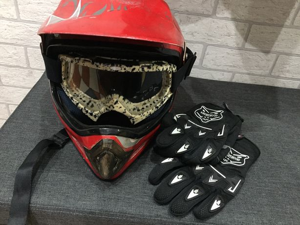Kask, gogle, rękawice na motocykl