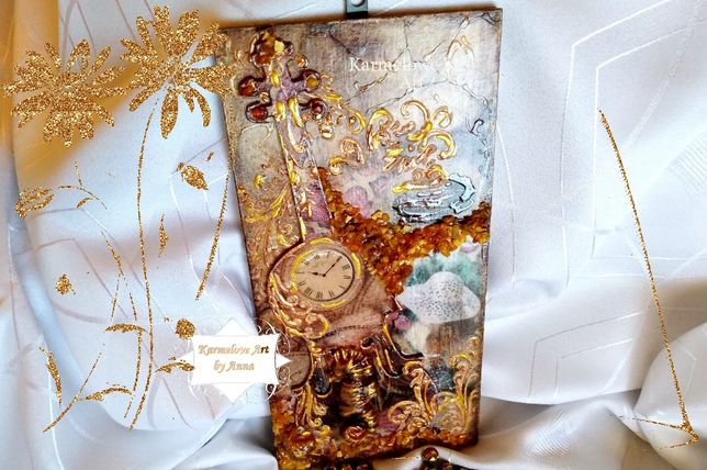 Obraz-panel ozdobny, decoupage bursztyn rękodzieło ozdoba prezent
