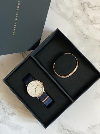 Daniel Wellington ZESTAW granatowy zegarek + złota bransoletka
