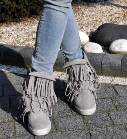 Sneakersy boho 38 skóra naturalna Beyco, szare z fredzlami