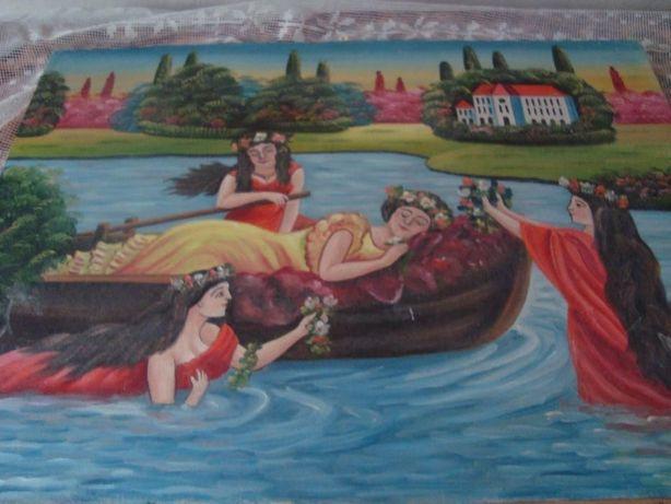 Картина девчата на пруду