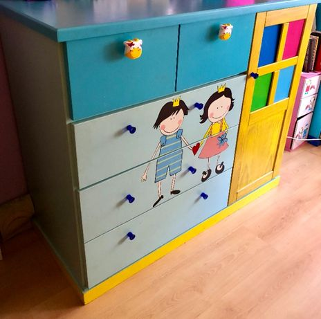 Cómoda quarto de criança pinho maciço