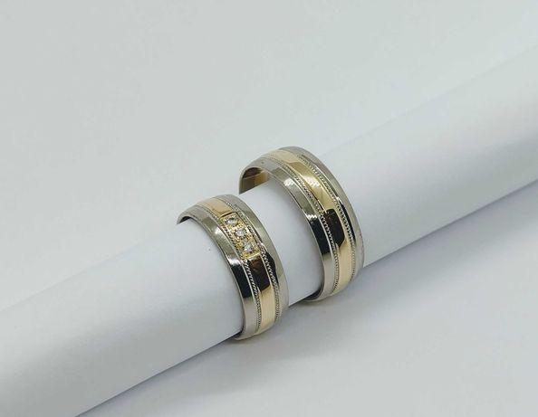 Złote obrączki półokrągłe biało/żółte z brylantami