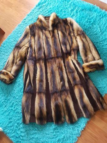 Futro naturalne długie płaszcz futerko beżowe brązowe