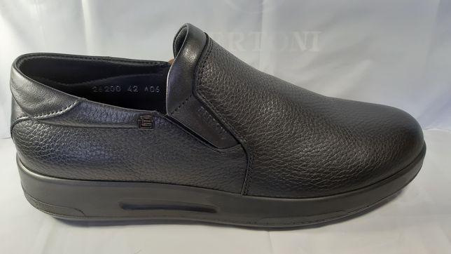 Кожаные туфли BERTONI,стиль комфорт,весна-осень.40,41,42,43,44,45
