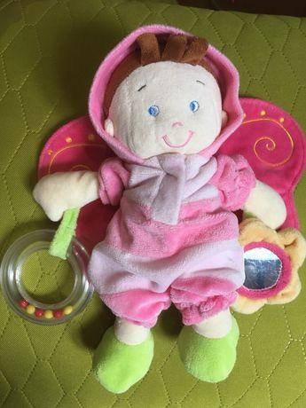 Красивая мягкая куколка, есть пищалка, погремушка, зеркальце!