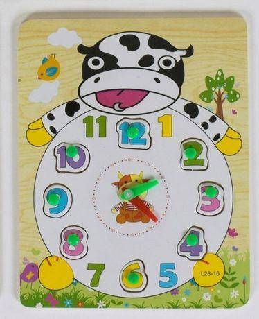 """Детская игра - деревянная рамка-вкладыш """"Часы"""""""