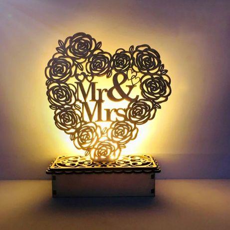 Drewniana dekoracja ślubna w stylu rustykalnym