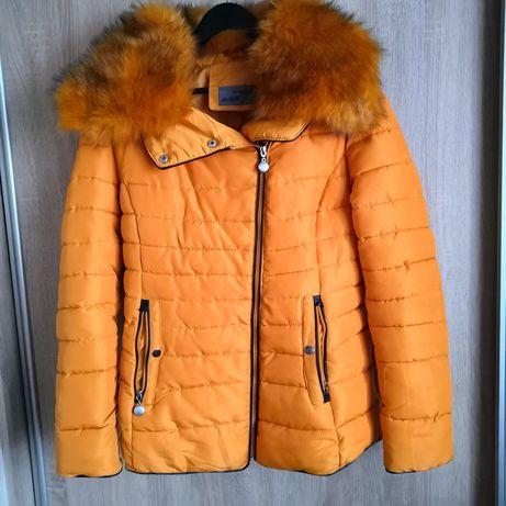 Żółta kurtka z futerkiem XL