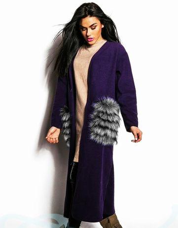 Пальто, кардиган с меховыми карманами