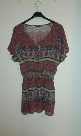 kolorowa sukienka tunika na lato krótki rękaw Atmopshere Primark 36 S